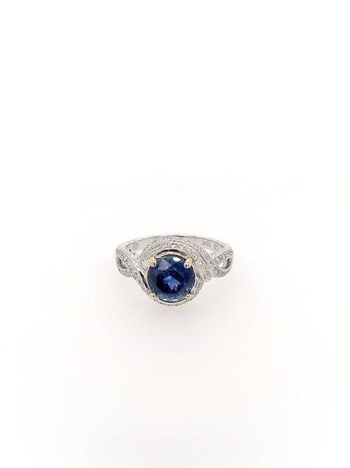 Ceylon Sapphire and Diamonds in 18kw Ring