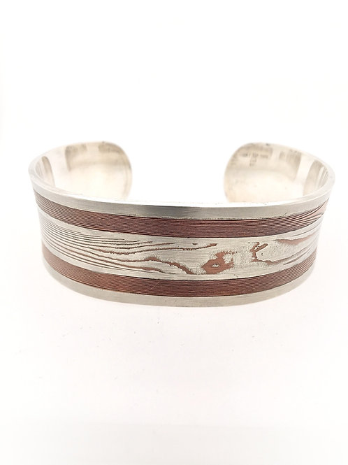 Silver, Copper, and Steel Mokume Cuff