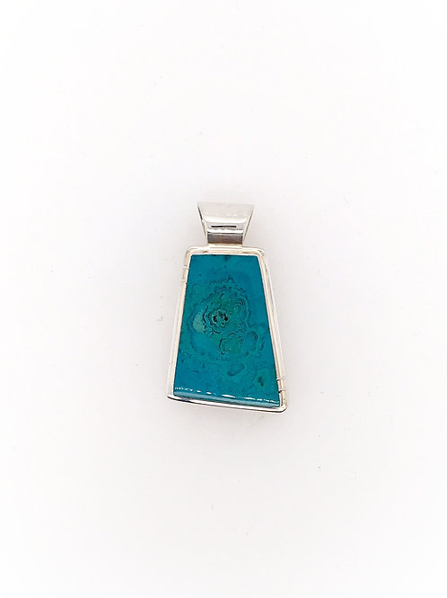 Silver and Chrysocolla Agate Pendant