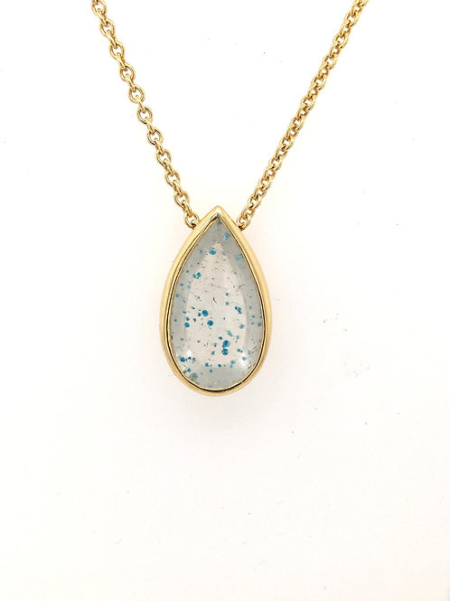 Paraiba Quartz Pendant with Chain