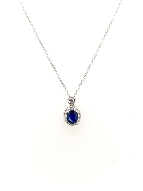 Sapphire and Diamond Pendant with 18kw Chain