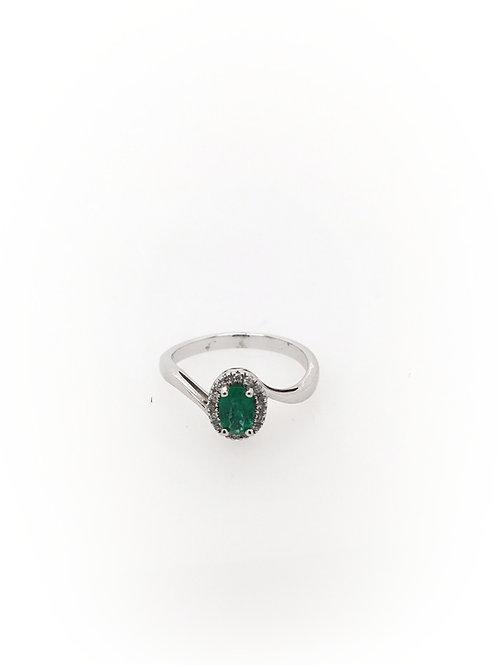 Emerald and Diamond 14kw Ring
