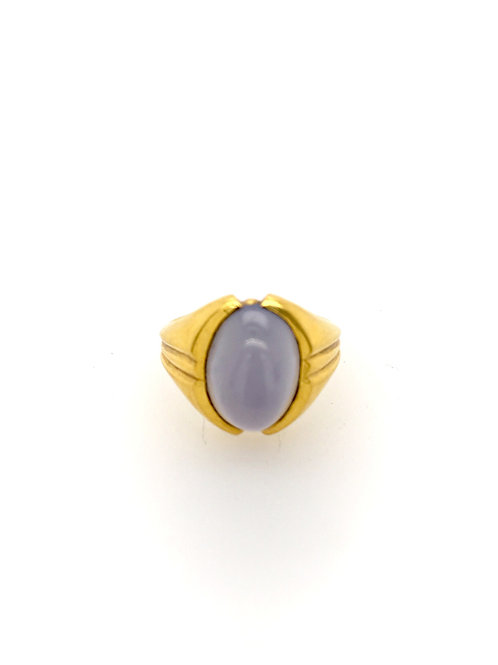 Blue Chalcedony and 20ky Ring