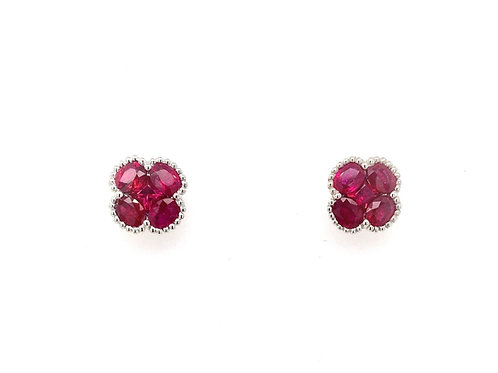 18kw Ruby and Diamond Earrings
