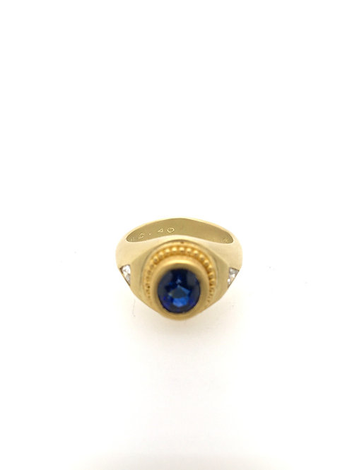 Sapphire and Diamon 22ky/18ky Ring