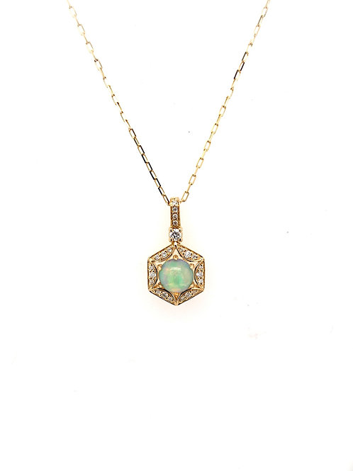 Opal and Diamond Pendant on 14ky Chain