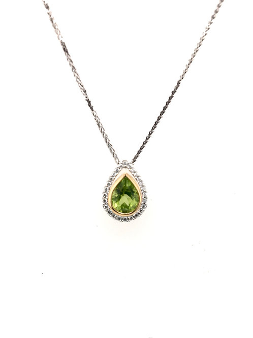 Peridot and Diamond Pendant on 14kw Chain