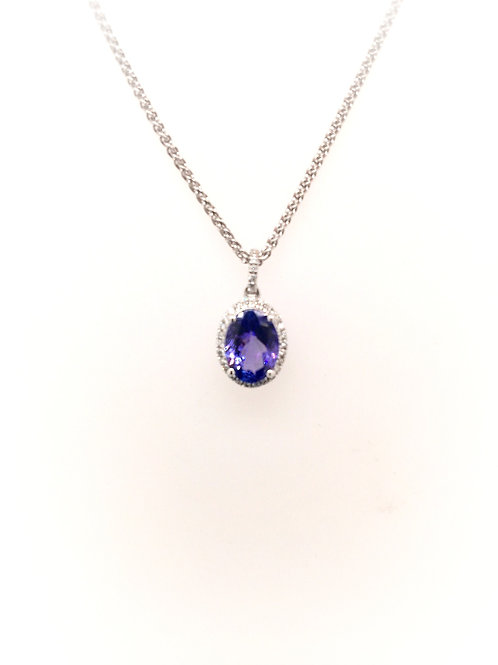 Tanzanite and Diamond Pendant on 14kw Chain