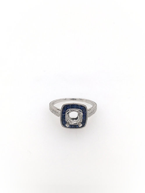 14kw Semi Mount with Sapphires and Diamonds