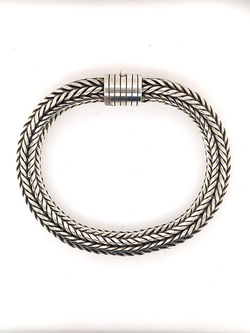 Round Silver Woven Bracelet