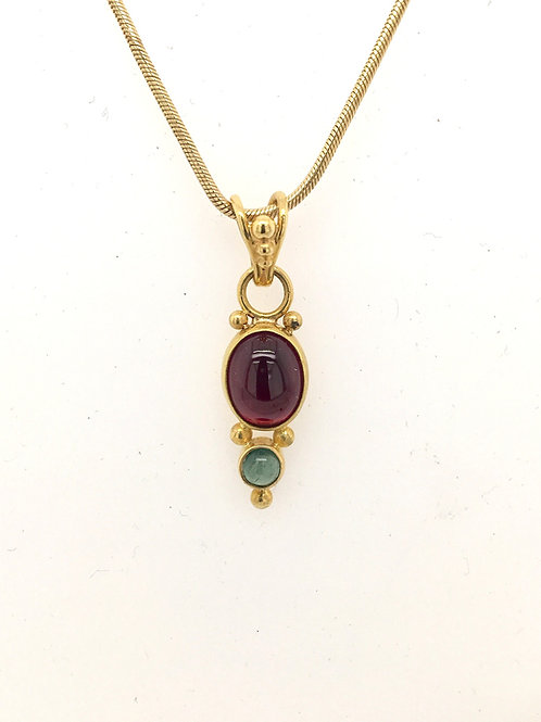 Pink and Green Tourmaline Pendant with 14KY Chain