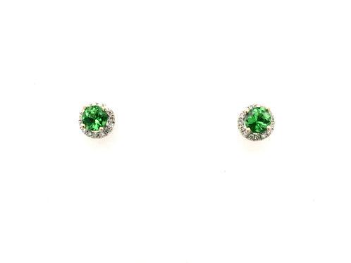 Tsavorite and Diamond Earrings in 18kw