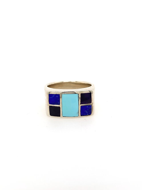 Silver Ring with Turquois, Jade, Lapis and Sugilite