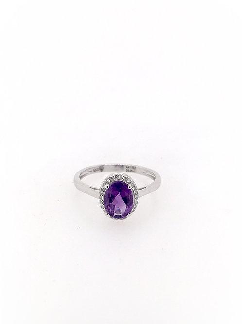14kw Amethyst and Diamond Ring