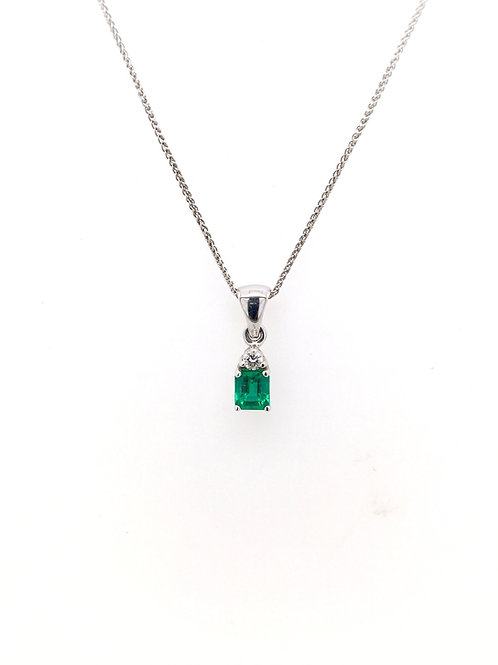 Emerald and Diamond Pendant on 14kw Chain