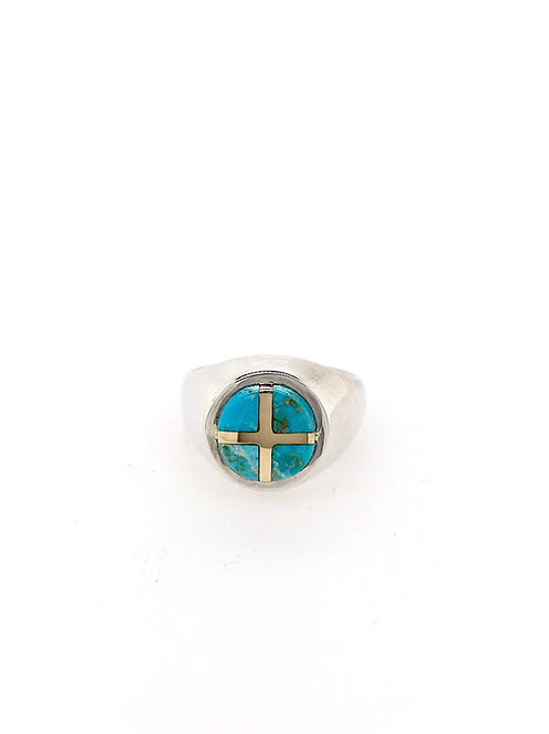 14ky, Silver, and Turquoise Ring