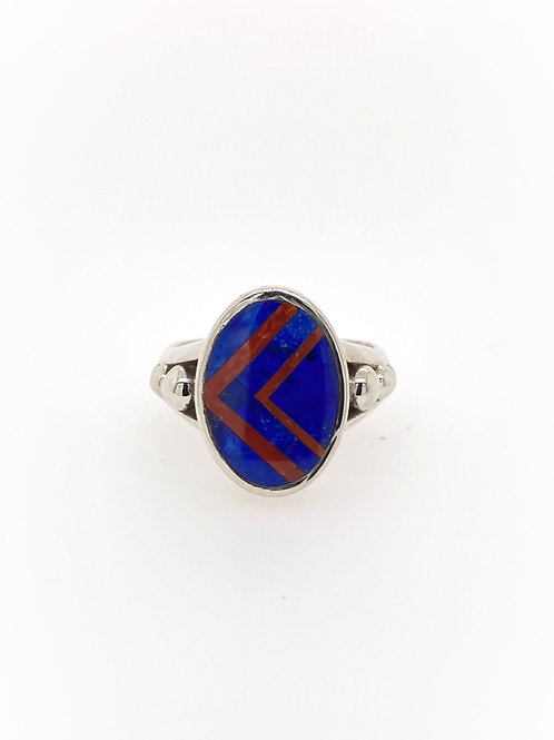 Lapis and Coral Silver Ring