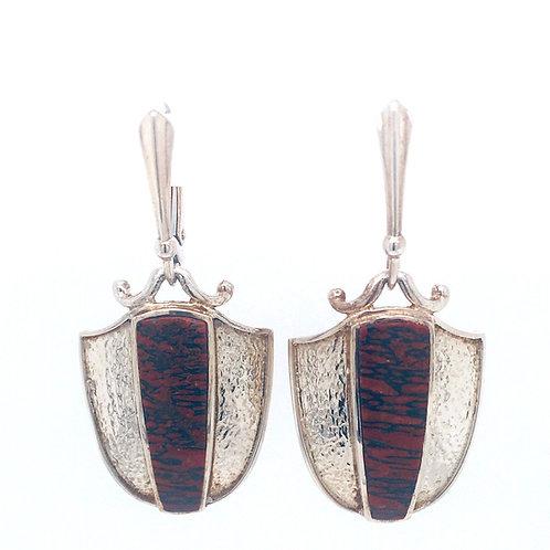 Silver and Dinosaur Bone Earrings