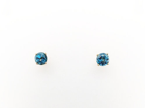 Blue Zircon in 14ky Earrings