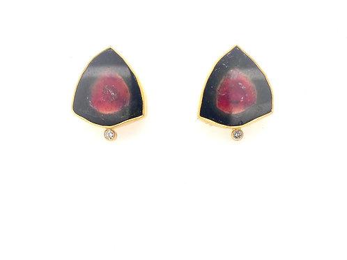 Watermelon Tourmaline and Diamond 22/18ky Earrings