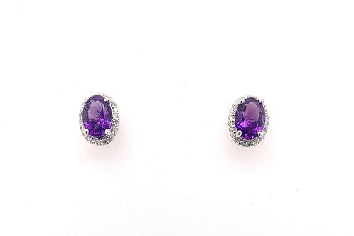 Amethyst and Diamond 14kw Earrings
