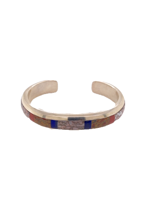 Silver and Dinosaur Bone Cuff with Coral and Lapis