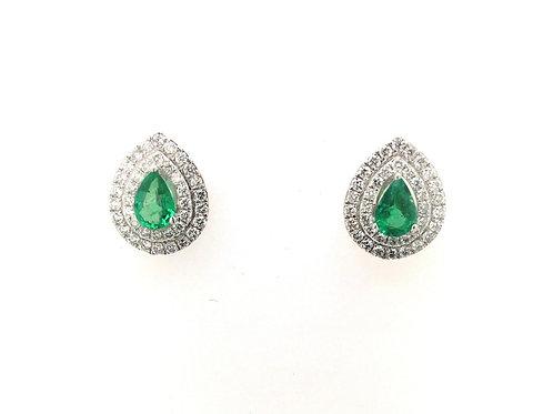 14kw Emerald and Diamond Earrings