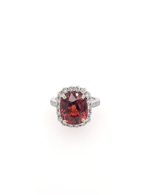 Spessartite Garnet and Diamond 14kw Ring
