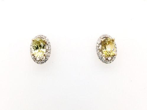 Yellow Zircon with Diamonds set in 18kw Earrings