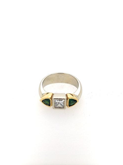 Tsavorite and Diamond 18kw/14ky Ring