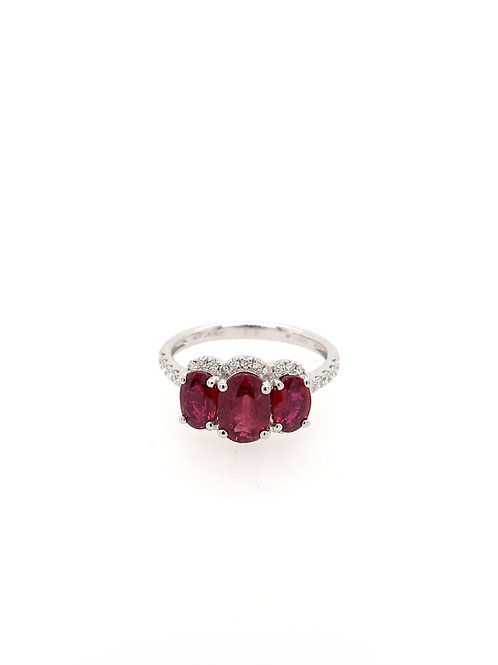Oval Rubies and Diamonds in 18kw Ring