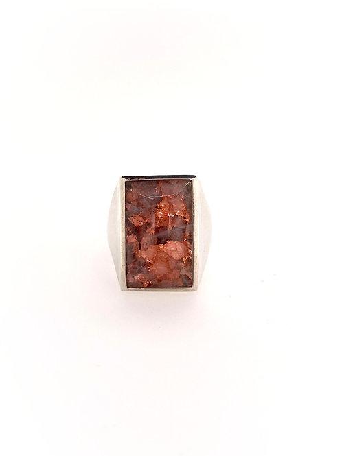 Copper and Quartz Silver Ring