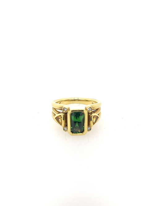 Tsavorite, Sapphire, and Diamond 18ky Ring
