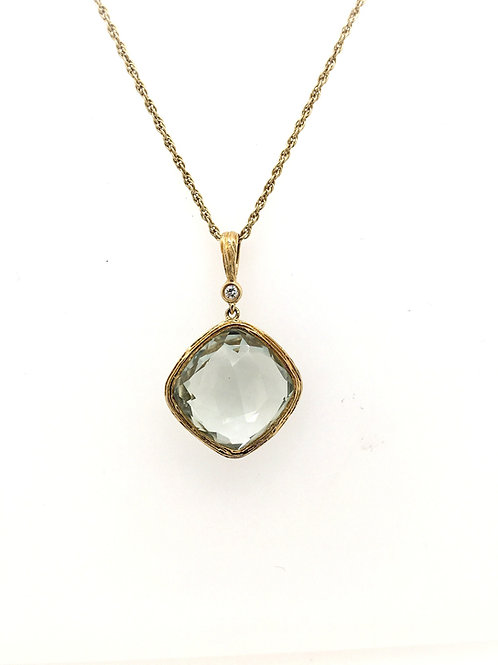 Green Amethyst and Diamond with 14ky Rope Chain