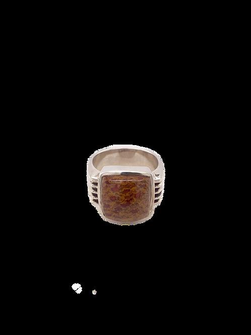 Silver and Dinosaur Bone Ring