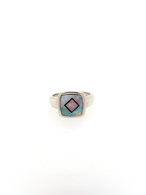Opal and Black Onyx Silver Ring
