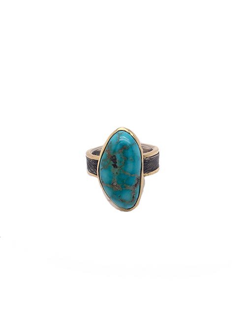 Silver, 18KY, and Turquoise Ring