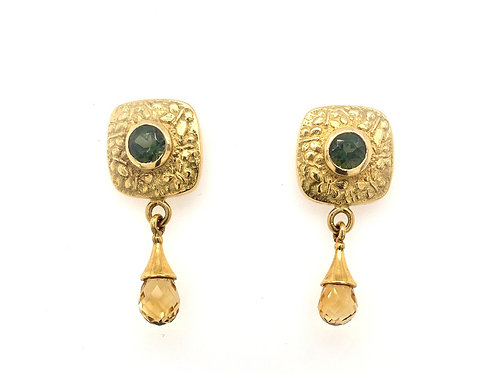 Tourmaline and Citrine 18ky Earrings