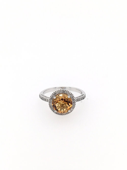 14kw Citrine and Diamond Ring