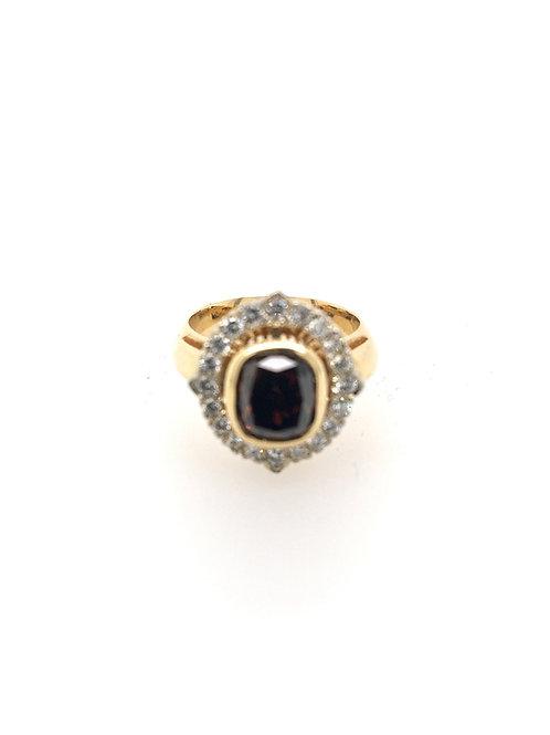 Cognac Diamond in 14ky/14kw Ring