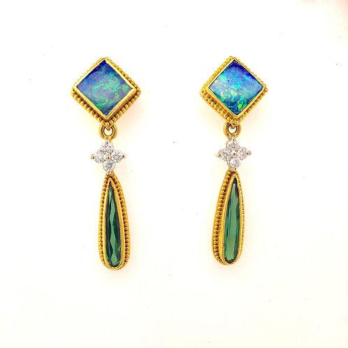 Opal, Tourmaline, and Diamond 22ky/14ky Earrings