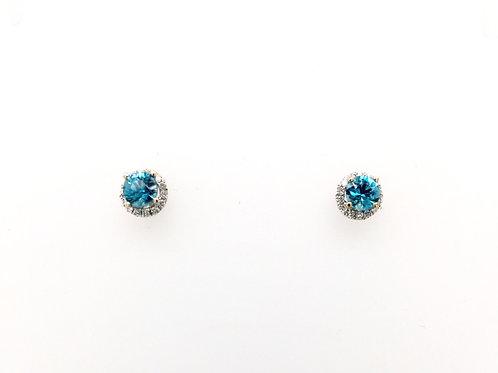 Blue Zircon and Diamonds in 18kw Earrings