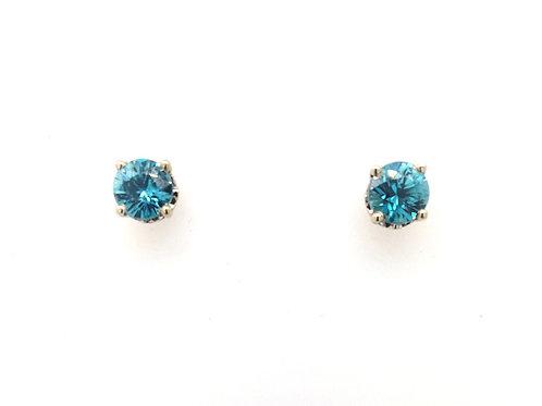 Blue Zircon in 14kw Earrings