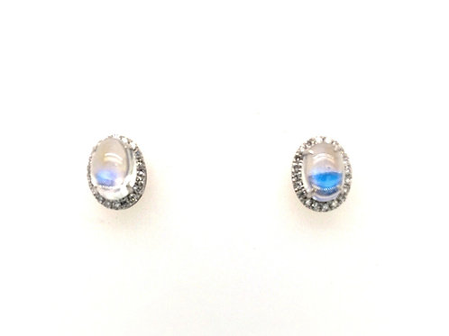14kw Moonstone and Diamond Earrings