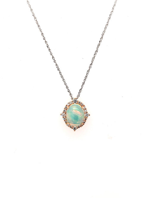 Opal and Diamond 14kr Pendant on 14kw Chain