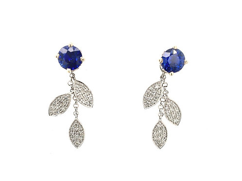 14kw Sapphire Stud Earrings with Diamond Leaf Dangle