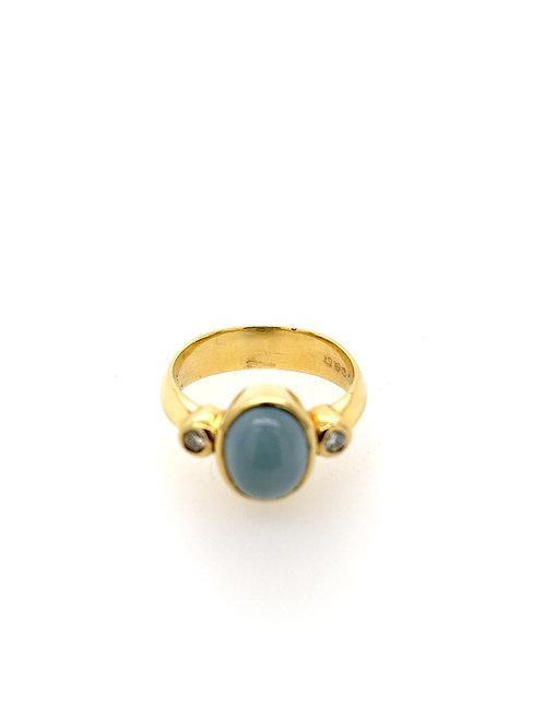 Aquamarine and 18ky Ring