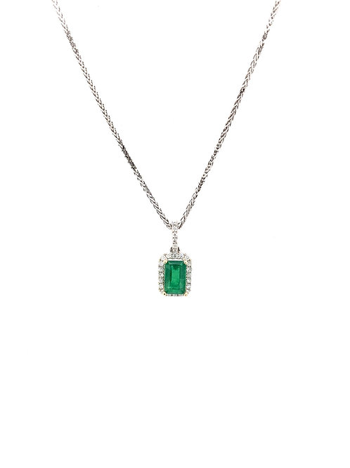 Emerald and Diamond Pendant on 14kw Chain