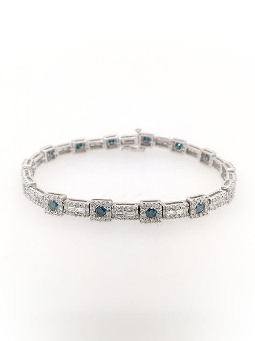 Blue Diamond Tennis Bracelet in 14kw