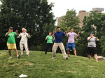 A Tai Chi class in the park
